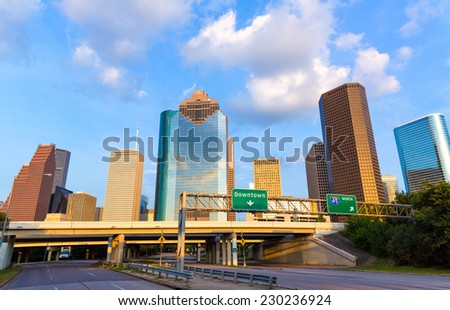 Huston skyline downtown from west at Texas US USA - stock photo