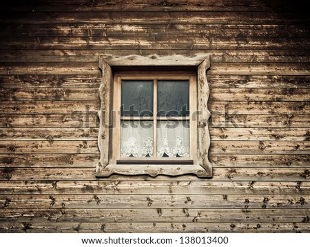 hut and window with curtain 11 - stock photo