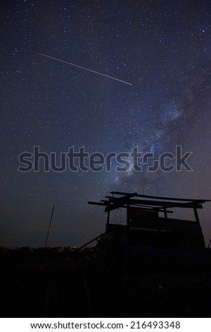 hut at beautiful night with milky way and meteor ( visible noise due to high iso ) - stock photo