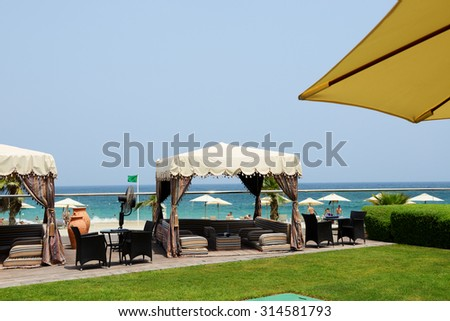 Hut at the beach at luxury hotel, Fujairah, UAE