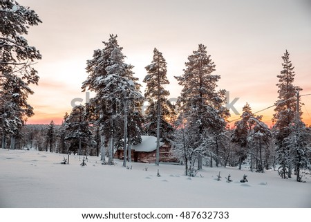 Hut in a snowy forest