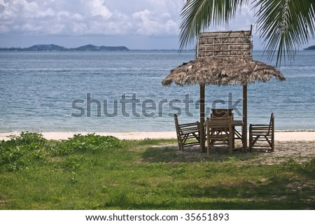 Hut  on a beach in thailand. Horizontal shot.