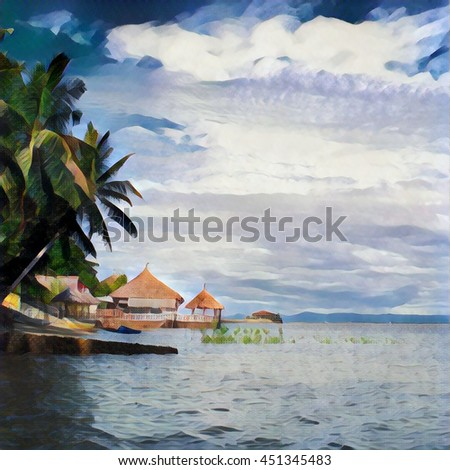 Hut on piles in the sea. Tropical island landscape. Palm trees on the beach. Summer holiday season by the seaside. Exotic lifestyle painting in impressionism style. Tropic holiday digital illustration