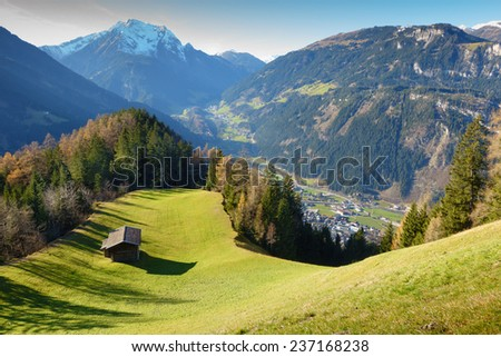 Hut overlooking to Mayrhofen in the Zillertal - stock photo
