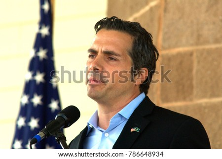 Hutchinson, Kansas. USA, 6th, September,  2014 Greg Orman independent challenger in the Senate race against incumbent Republican Pat Roberts answers questions during today's debate at the State Fair