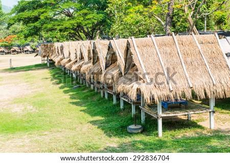 Huts at Huay Tueng Tao lake in Chiangmai province, Thailand. - stock photo