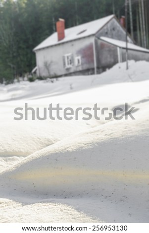 Huts in deep snow in vosges mountain - stock photo