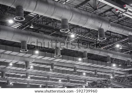 Stock Photo Hvac Duct Cleaning Ventilation Pipes In Silver Insulation Material Hanging From The Ceiling Inside on Hvac Ductwork Symbols