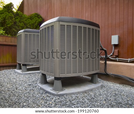 HVAC heating and air conditioning residential units - stock photo