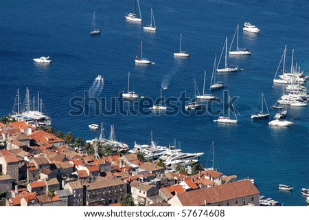 Hvar and its marine with yachts - stock photo