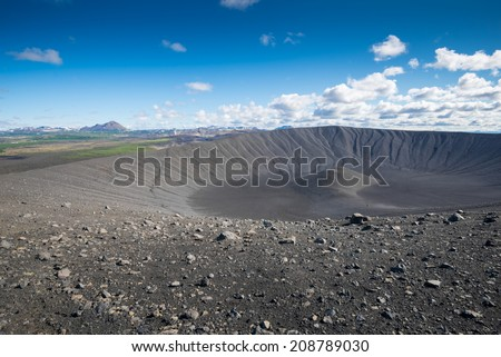 Hverfjall crater in Myvatn area, northern Iceland - stock photo