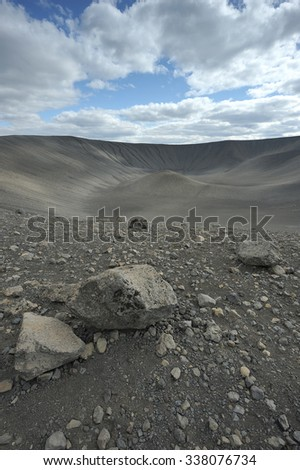 Hverfjall vulcano, northern Iceland. - stock photo