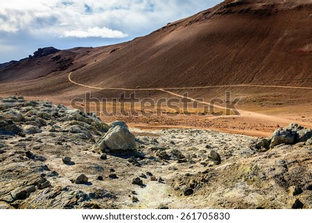 Hverir - geothermal field in Northern Iceland - stock photo