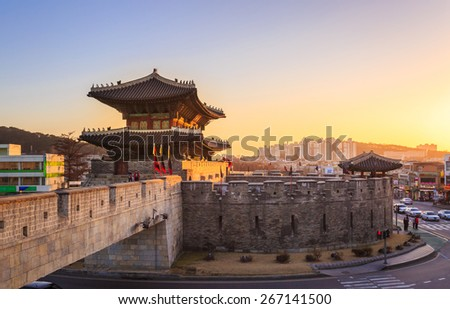 Hwaseong Fortress, Traditional Architecture of Korea in Suwon, South Korea - stock photo