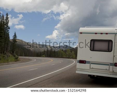 HWY 160 to Pagosa Springs, Colorado. - stock photo