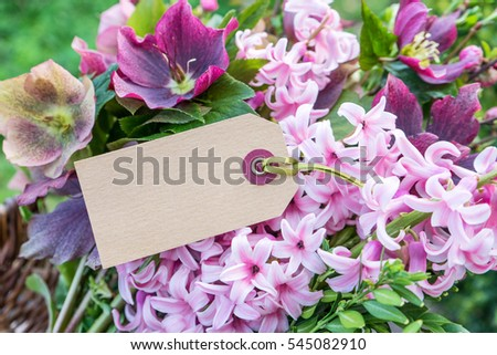 Hyacinths and Helleborus with text space / spring flowers / flowers