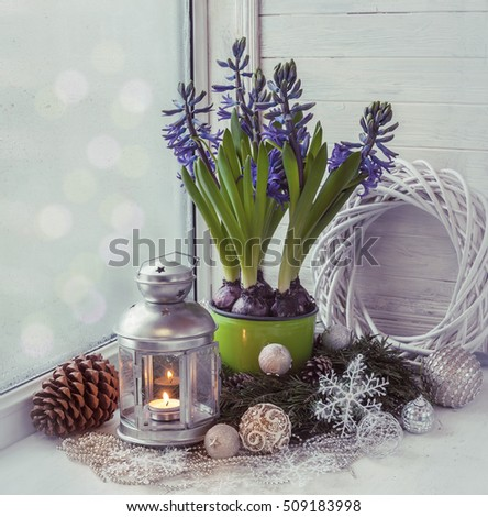 Hyacinths winter window with Christmas toys and a wreath of pine. (mass-produced) Tonal stylisation