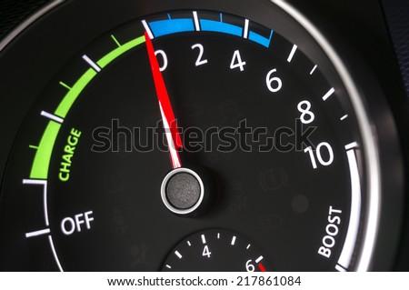 Hybrid car instruments - stock photo