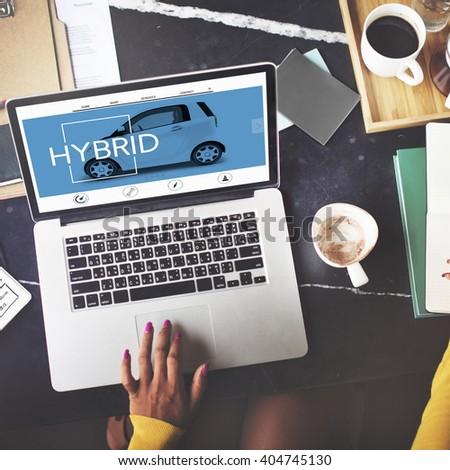 Hybrid Electronic Green Energy Motor Concept - stock photo