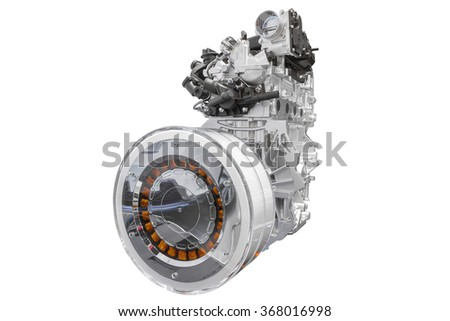 Hybrid engine of concept car isolated on white background with clipping path - stock photo