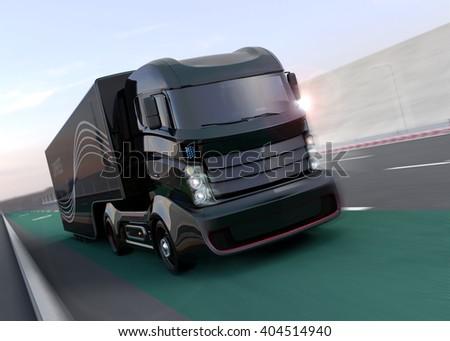 Hybrid truck on highway. 3D rendering image. - stock photo
