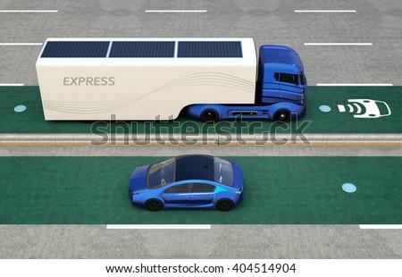 Hybrid truck on wireless charging lane. 3D rendering image. - stock photo