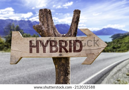 Hybrid wooden sign with a street background  - stock photo