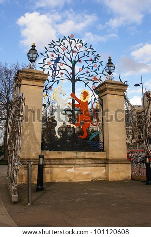 Hyde Park Entrance in London United Kingdom - stock photo