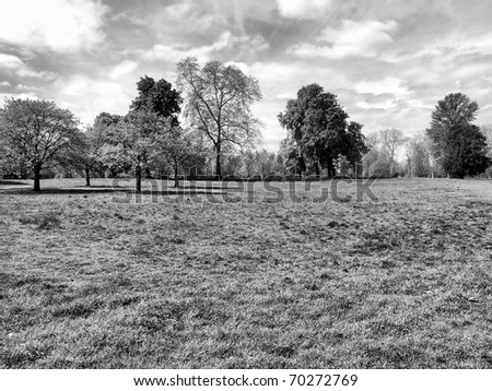 Hyde Park - Kensington Gardens in London, UK - high dynamic range HDR - black and white - stock photo