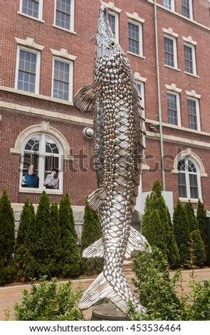 HYDE PARK, NY, USA - JUNE 12, 2016: The Culinary Institute of America. 12 foot sculpture named Old Diamondsides made of 1700 forks, spoons and knives, and created by John F. Sendelbach.