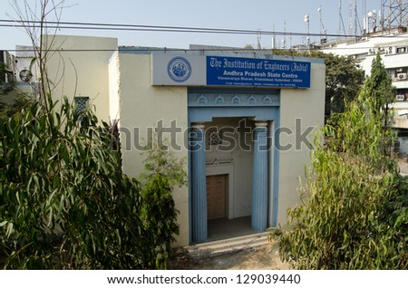 HYDERABAD, ANDHRA PRADESH, INDIA - JANUARY 4: Headquarters of the Indian Institution of Engineers in Hyderabad on January 4 2013.  The city is renowned for its civil engineering.