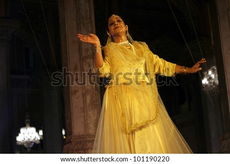 HYDERABAD,AP,INDIA-APRIL 23: Kathak dancer  Mangala Bhatt performs during heriitage week celebrations at chowmohalla palace on April 23,2012 in Hyderabad,Ap,India.Associcate of Pt. Birju Maharaj ji. - stock photo