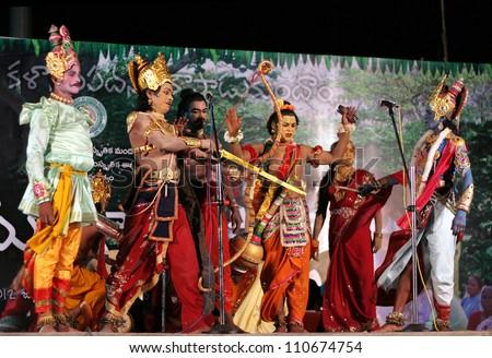 HYDERABAD,AP,INDIA-JULY 23:Pilli Mukundam group performs gaja gowri vratam a chindu yaksha ganam during week long chindu festival organised by state government on July 23,2012 in Hyderabad,India. - stock photo