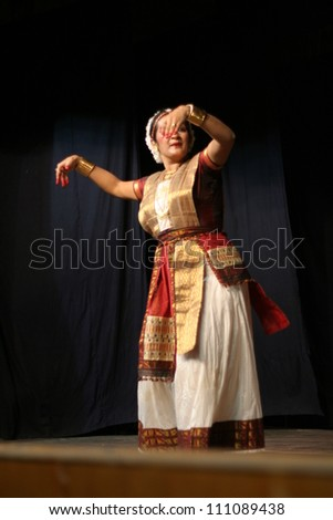 HYDERABAD,AP,INDIA-JUNE 16:Dr Mrunanda performs Sattriya Dance ,assamese classical indian dance form of 15th century, in thyagaraya gana sabha,a ICCR event on June 16,2012 in Hyderabad,Ap,India.