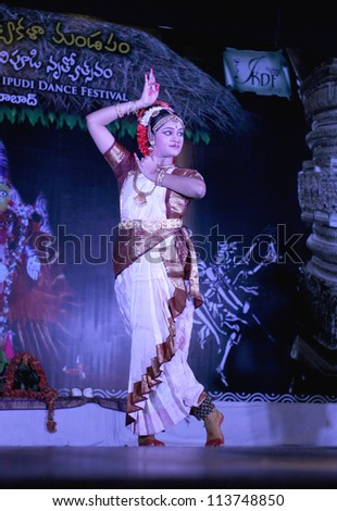 HYDERABAD,AP,INDIA-MAY 26:Artist perform during International Kuchipudi dance festival at Ravindra bharati on May26,2012 in Hyderabad,Ap,India.A classical dance form of Andhra Pradesh.
