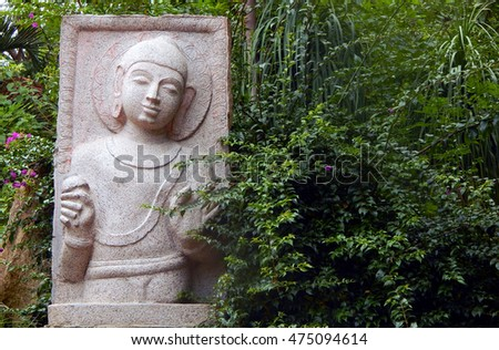 HYDERABAD,INDIA-AUGUST 28:Closeup of Gautama Buddha statue  carved out of stone in shilparamam in rock garden on August 28,2016 in Hyderabad,India