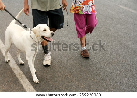 HYDERABAD,INDIA-FEBRUARY 28:People take the pet dog for a walk on the happy roads program (vehicular traffic stopped) on February 28,2015 in Hyderabad,India.