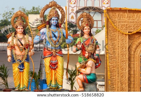 HYDERABAD,INDIA-NOVEMBER 17:Hindu Gods Rama,lakshmana,Sita and hanuman idols during karthika deepam ustav event lighting 1 crore lights on November 17,2016 in Hyderabad,India