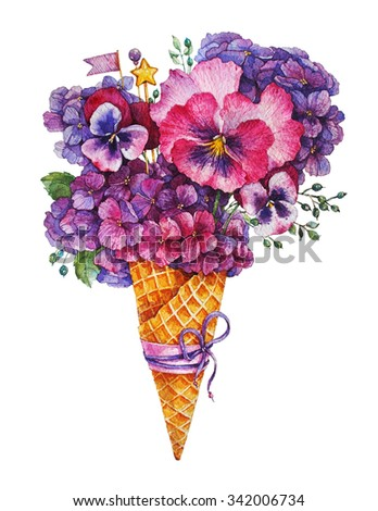 Hydrangea and violet ice cream Watercolor illustration. - stock photo