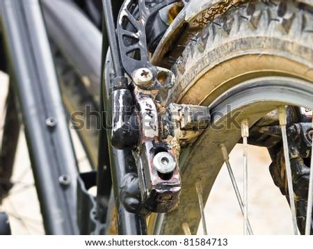 Hydraulic caliper brake on a mountain bike - stock photo
