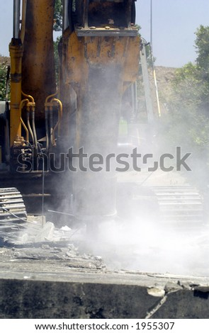 Hydraulic Excavator during demolition