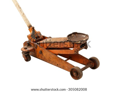 Hydraulic floor jack isolated on white background