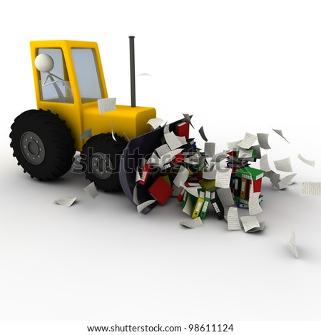 hydraulic shovel removing the paper chaos - paper - stock photo