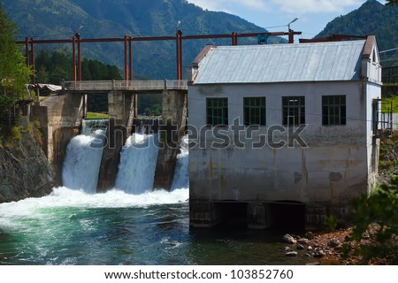 hydro-electric power station on Chemal, Altai, Siberia - stock photo