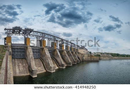 hydro electric station. blue sky with clouds. panorama - stock photo
