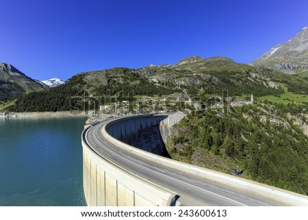 Hydro-electric Tignes dam by summer, Isere valley, Savoie, France