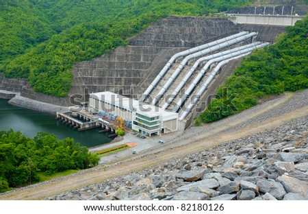 Hydro Power Electric Dam in Thailand - stock photo