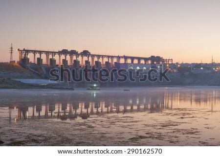 hydro Power Station,dam,sunrise - stock photo