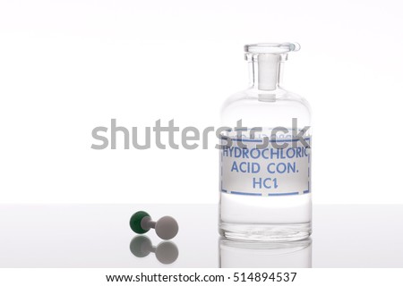 Hydrochloric Acid Solution With Chemical Structure Model
