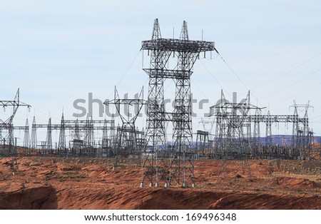 Hydroelectric power plant in Glen Canyon, Arizona - stock photo